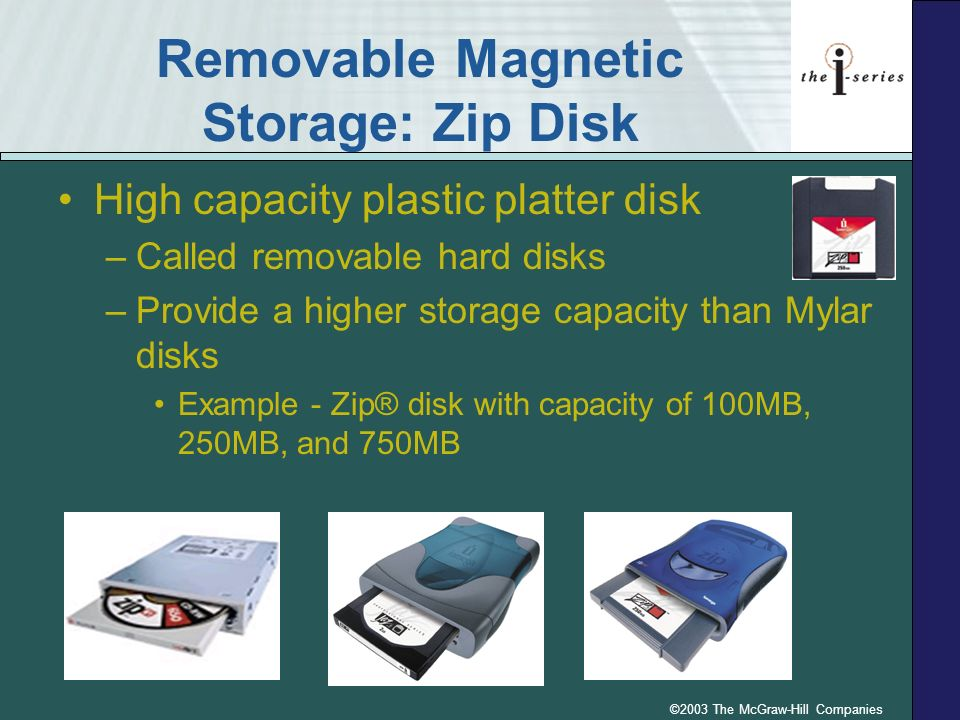 ©2003 The McGraw-Hill Companies Removable Magnetic Storage: Zip Disk High capacity plastic platter disk –Called removable hard disks –Provide a higher