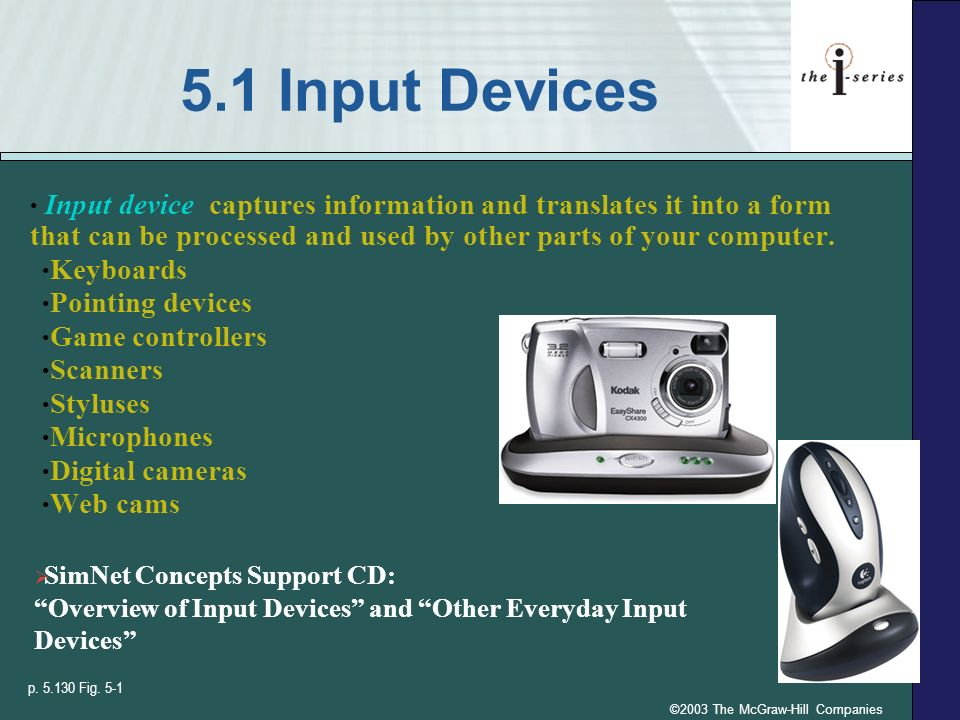 ©2003 The McGraw-Hill Companies 5.1 Input Devices Input device captures information and translates it into a form that can be processed and used by ot