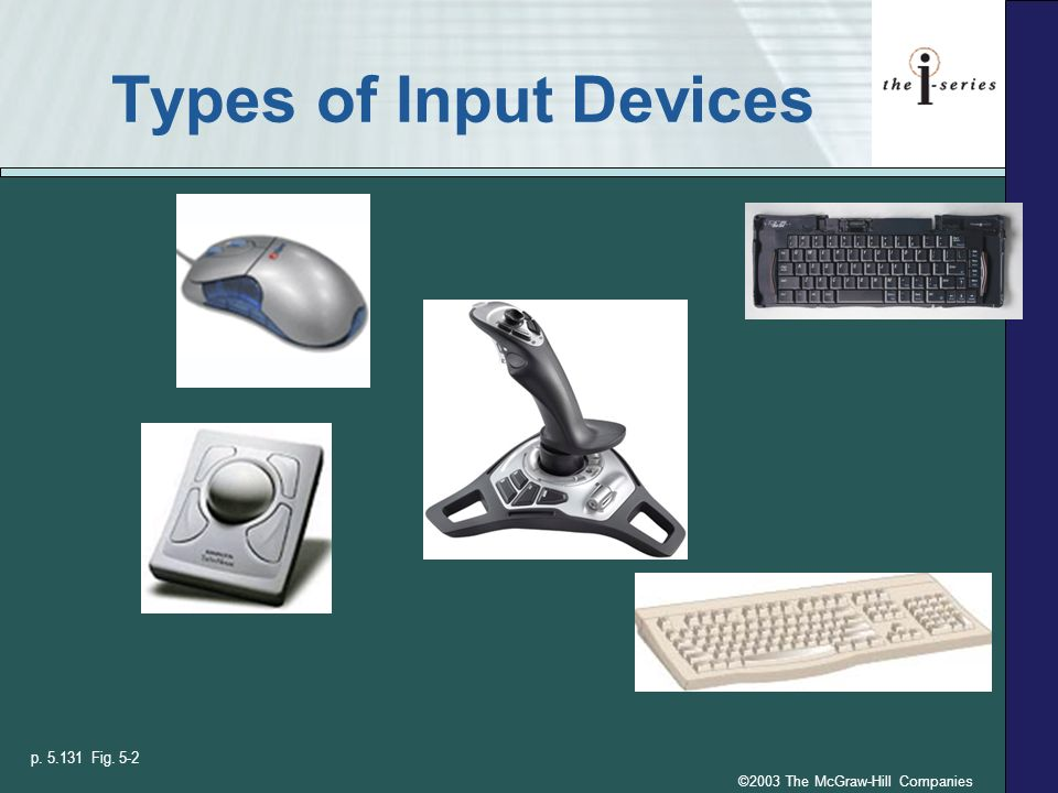 ©2003 The McGraw-Hill Companies Types of Input Devices p. 5.131 Fig. 5-2