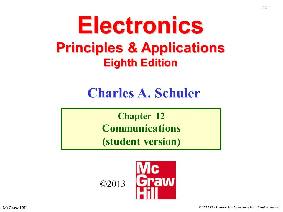 12-1 McGraw-Hill © 2013 The McGraw-Hill Companies, Inc. All rights reserved. Electronics Principles & Applications Eighth Edition Chapter 12 Communica