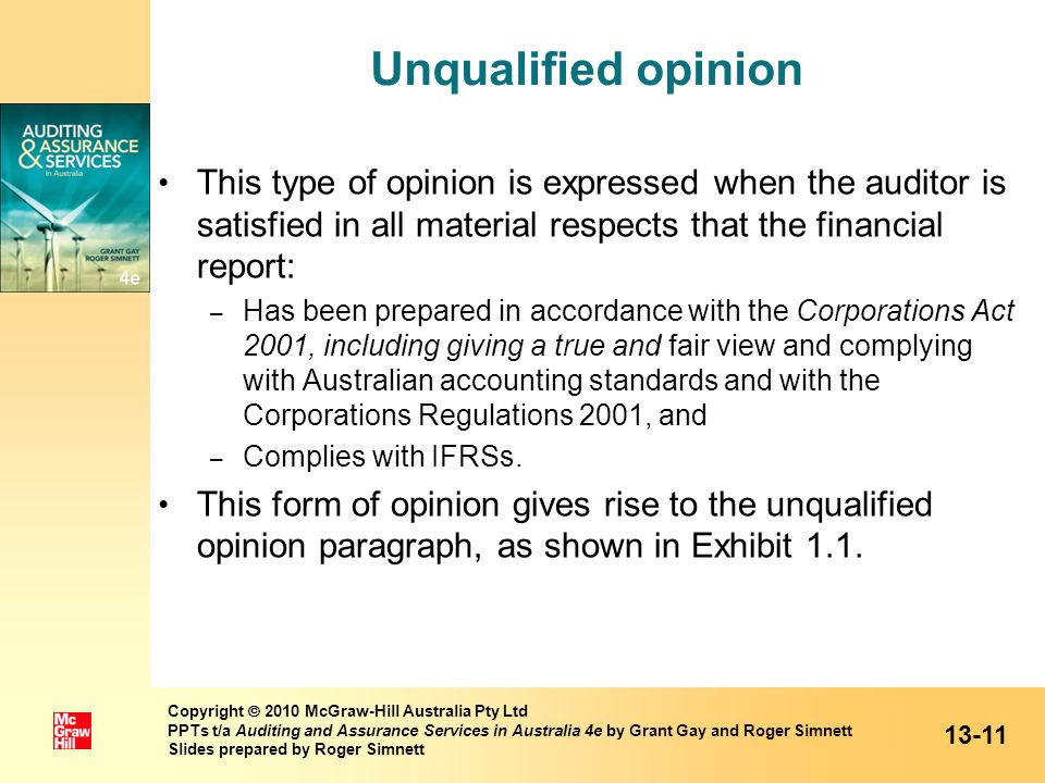 Unqualified opinion This type of opinion is expressed when the auditor is satisfied in all material respects that the financial report: – Has been pre