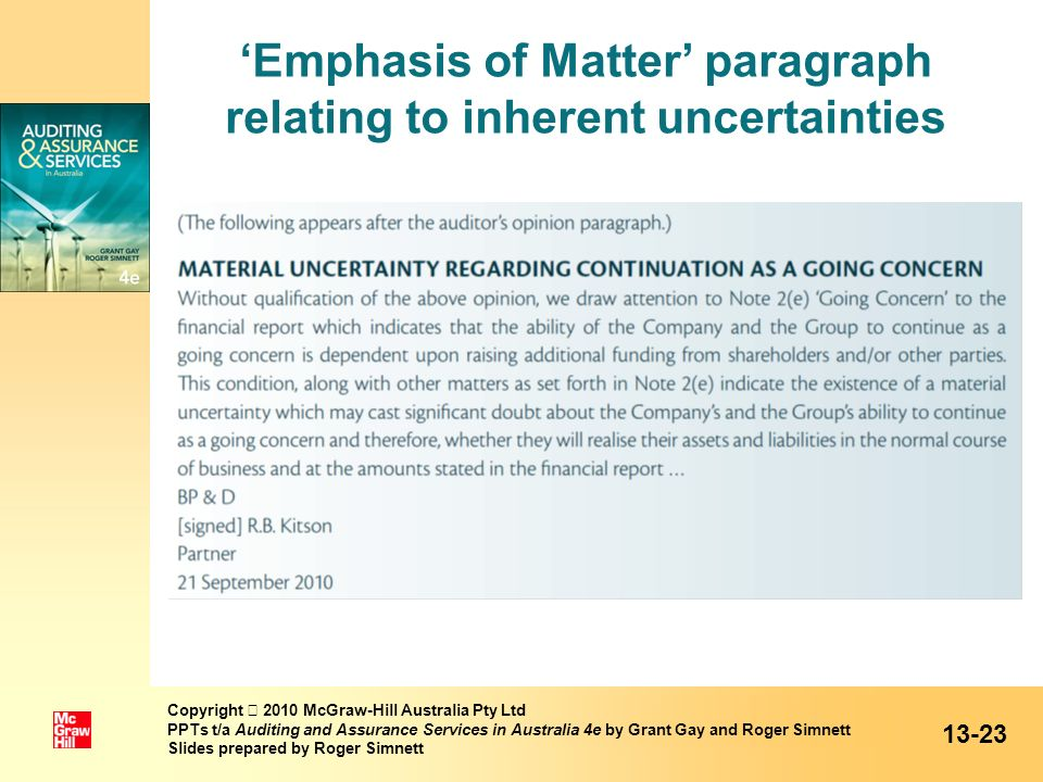 Emphasis of Matter paragraph relating to inherent uncertainties Copyright 2010 McGraw-Hill Australia Pty Ltd PPTs t/a Auditing and Assurance Services