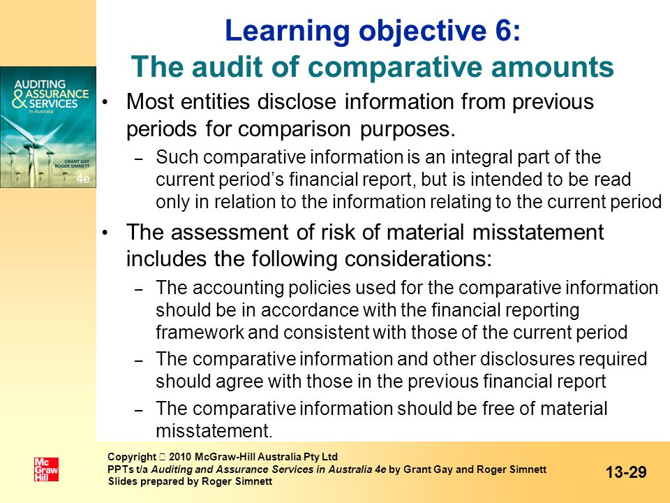 Learning objective 6: The audit of comparative amounts Most entities disclose information from previous periods for comparison purposes. – Such compar