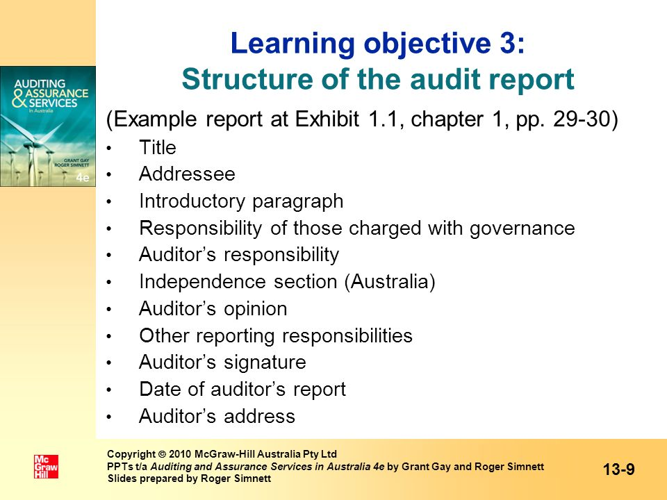 Example of qualified audit opinion paragraph for a disclaimer of opinion (statement of inability to form an opinion) 13-20 Copyright 2010 McGraw-Hill Australia Pty Ltd PPTs t/a Auditing and Assurance Services in Australia 4e by Grant Gay and Roger Simnett Slides prepared by Roger Simnett