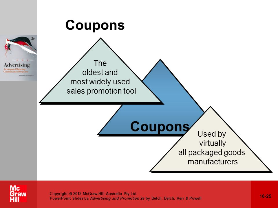 16-25 Copyright 2012 McGraw-Hill Australia Pty Ltd PowerPoint Slides t/a Advertising and Promotion 2e by Belch, Belch, Kerr & Powell Coupons Used by v
