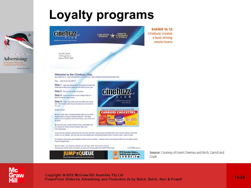 16-34 Copyright 2012 McGraw-Hill Australia Pty Ltd PowerPoint Slides t/a Advertising and Promotion 2e by Belch, Belch, Kerr & Powell Loyalty programs