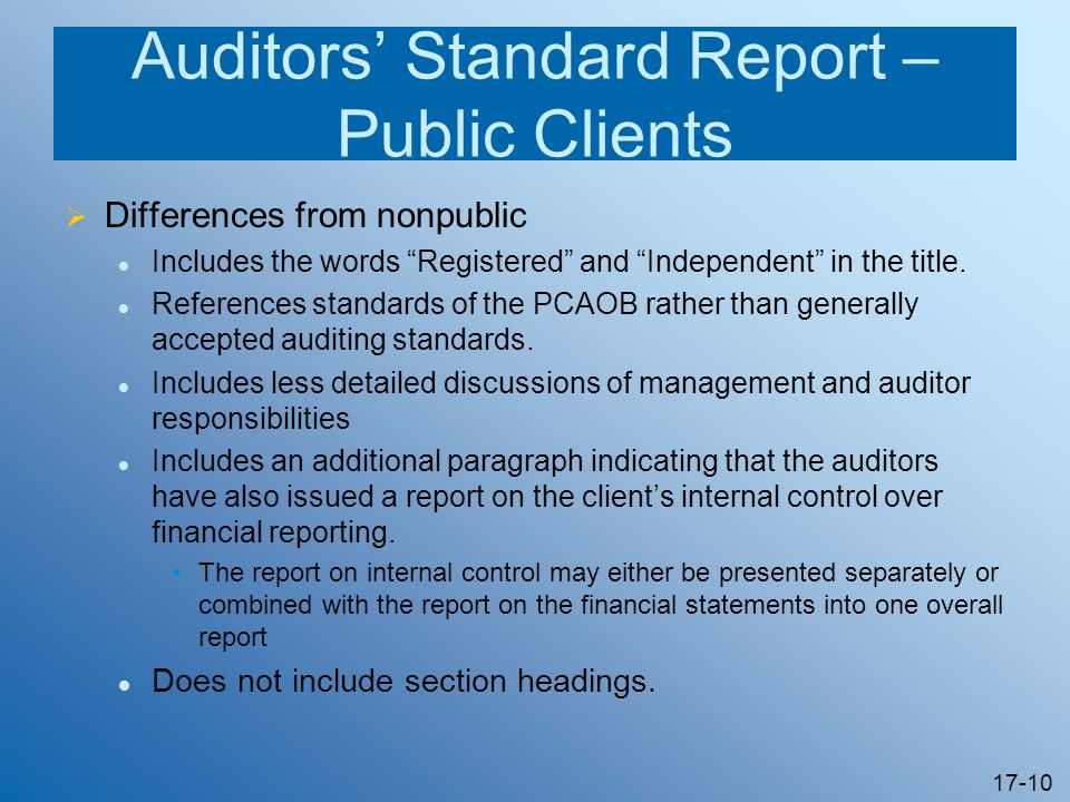 17-10 Auditors Standard Report – Public Clients Differences from nonpublic Includes the words Registered and Independent in the title. References stan