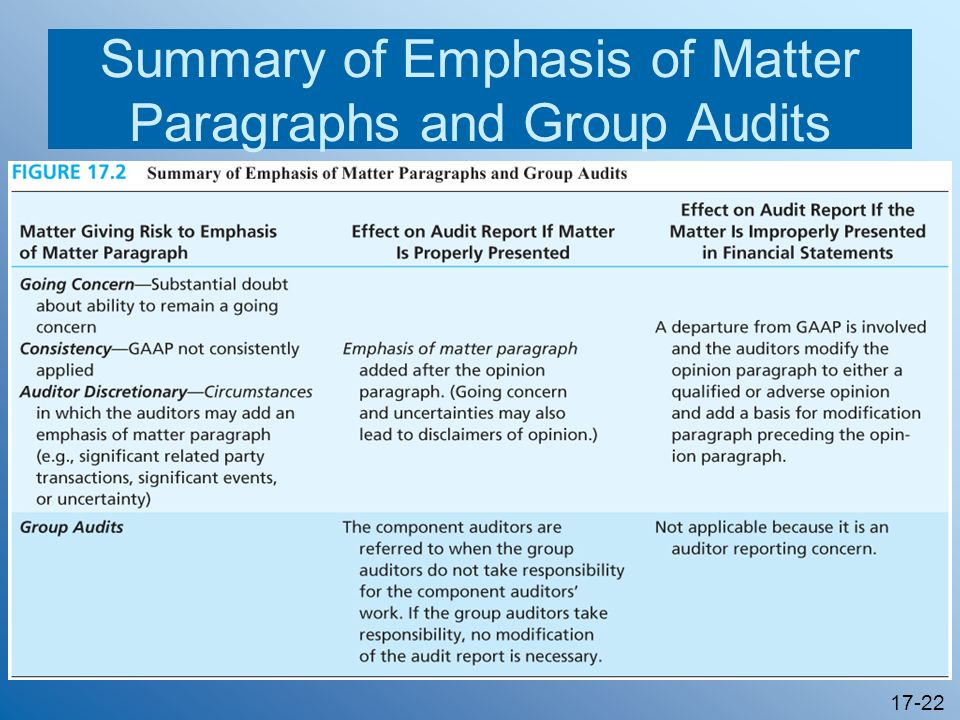 17-22 Summary of Emphasis of Matter Paragraphs and Group Audits
