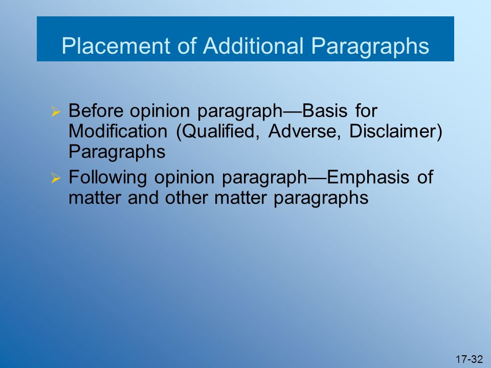 17-32 Placement of Additional Paragraphs Before opinion paragraphBasis for Modification (Qualified, Adverse, Disclaimer) Paragraphs Following opinion