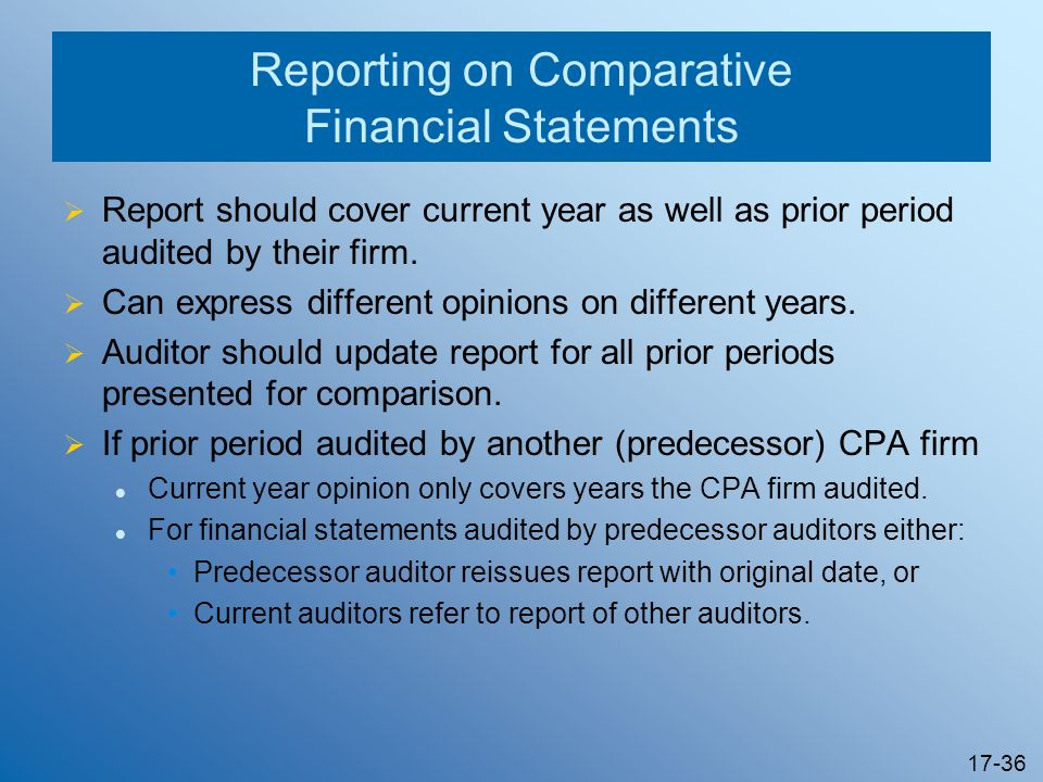 17-36 Reporting on Comparative Financial Statements Report should cover current year as well as prior period audited by their firm. Can express differ