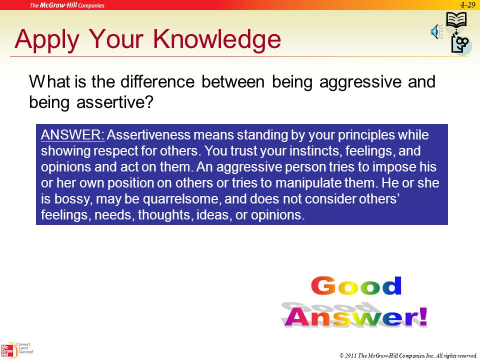 © 2011 The McGraw-Hill Companies, Inc. All rights reserved. 4-28 Assertiveness Skills Assertive – people who are firm and stand by principles while st