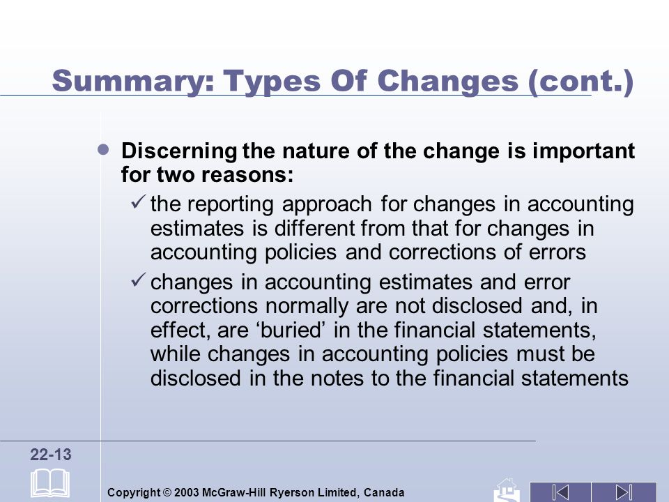 Copyright © 2003 McGraw-Hill Ryerson Limited, Canada 22-13 Summary: Types Of Changes (cont.) Discerning the nature of the change is important for two reasons: the reporting approach for changes in accounting estimates is different from that for changes in accounting policies and corrections of errors changes in accounting estimates and error corrections normally are not disclosed and, in effect, are buried in the financial statements, while changes in accounting policies must be disclosed in the notes to the financial statements