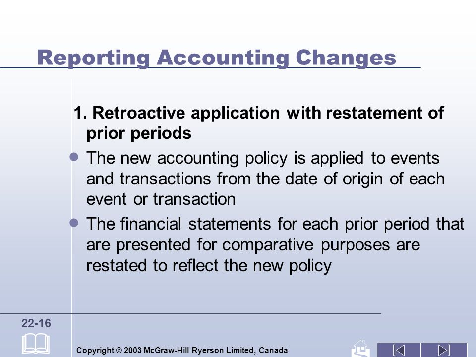 Copyright © 2003 McGraw-Hill Ryerson Limited, Canada 22-16 Reporting Accounting Changes 1.