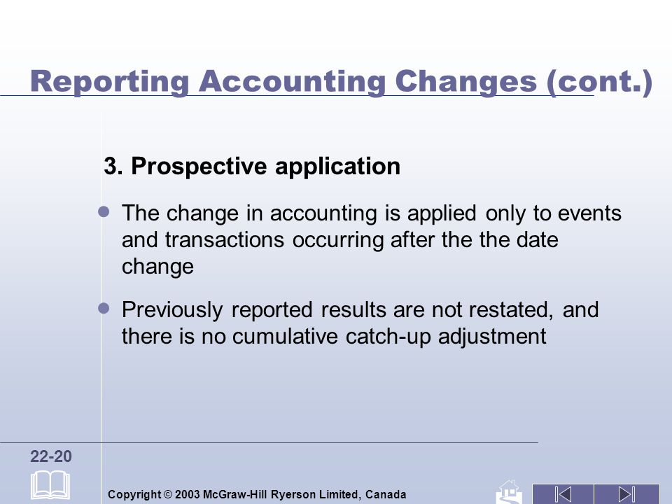 Copyright © 2003 McGraw-Hill Ryerson Limited, Canada 22-20 Reporting Accounting Changes (cont.) 3. Prospective application The change in accounting is