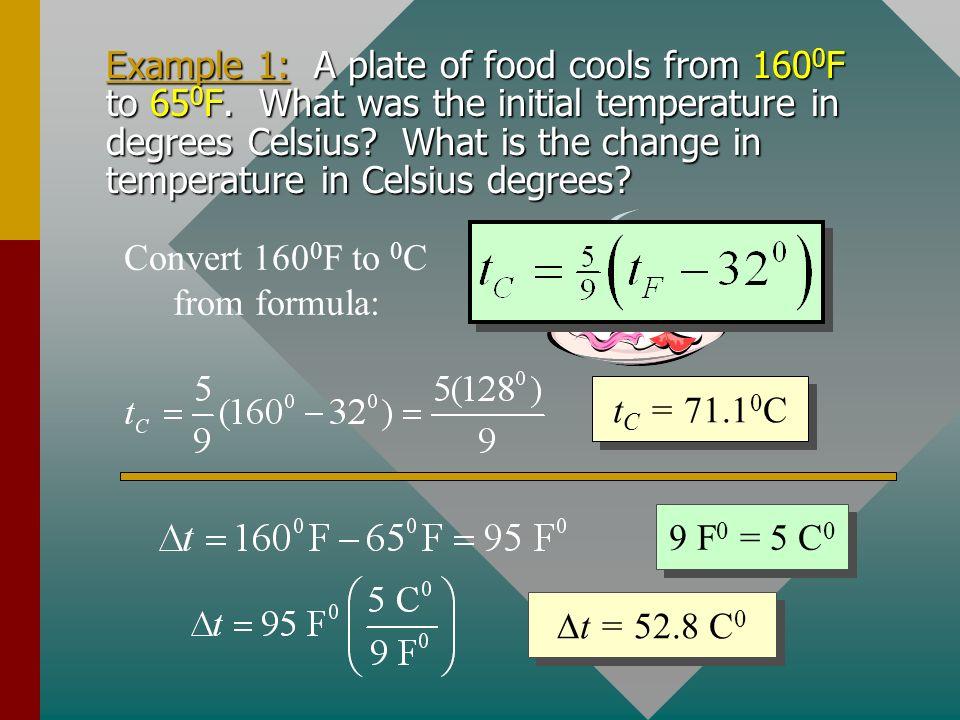Specific Temperatures 212 0 F 32 0 F 100 0 C 00C00C 180 F 0 100 C 0 tCtC tFtF Same temperatures have different numbers: 0 C 0 F