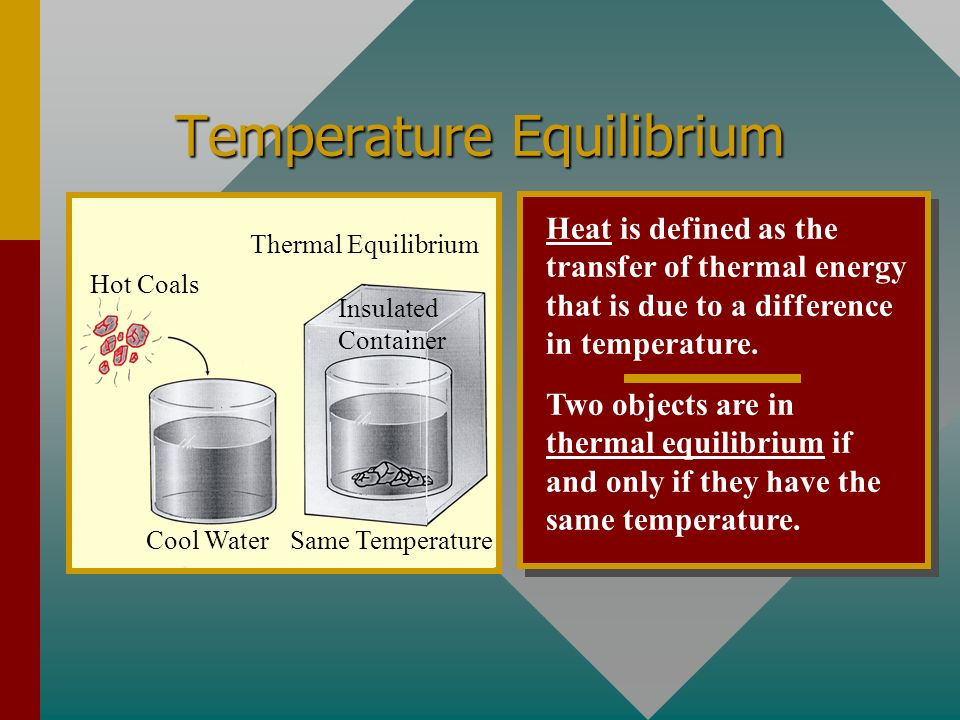 Temperature Equilibrium Heat is defined as the transfer of thermal energy that is due to a difference in temperature.