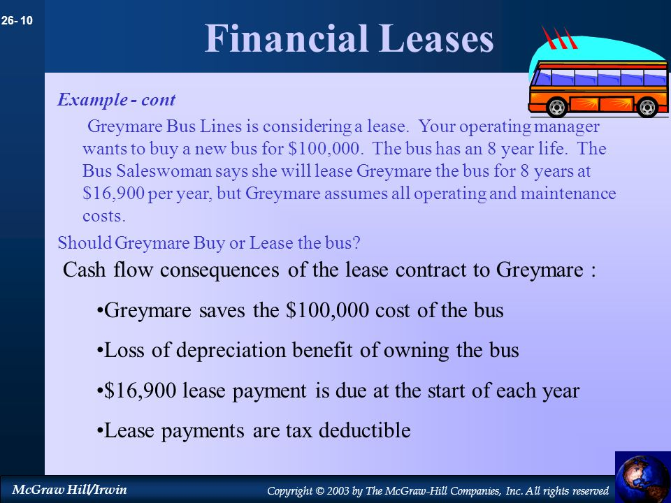 26- 10 McGraw Hill/Irwin Copyright © 2003 by The McGraw-Hill Companies, Inc. All rights reserved Financial Leases Example - cont Greymare Bus Lines is