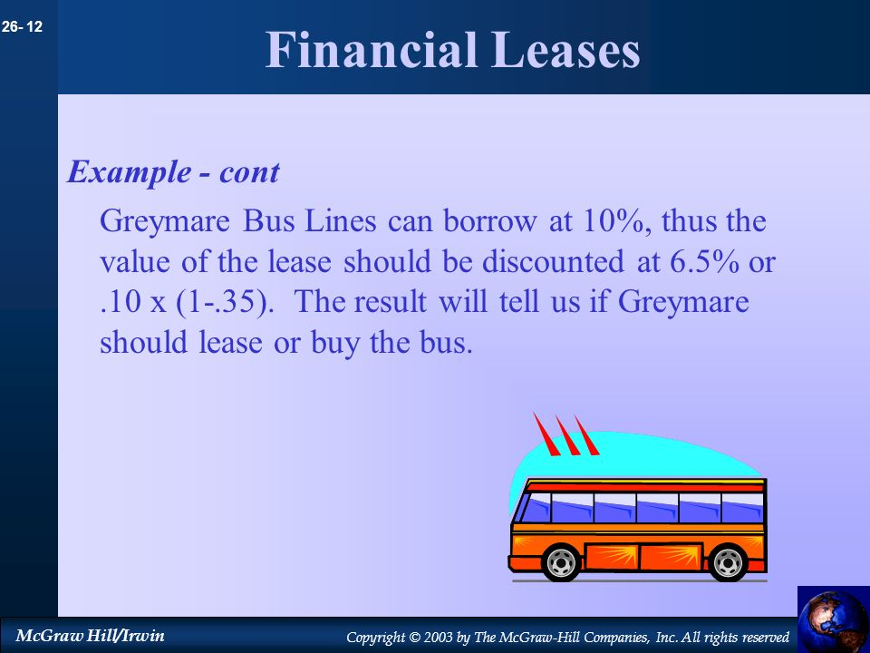 26- 12 McGraw Hill/Irwin Copyright © 2003 by The McGraw-Hill Companies, Inc. All rights reserved Financial Leases Example - cont Greymare Bus Lines ca