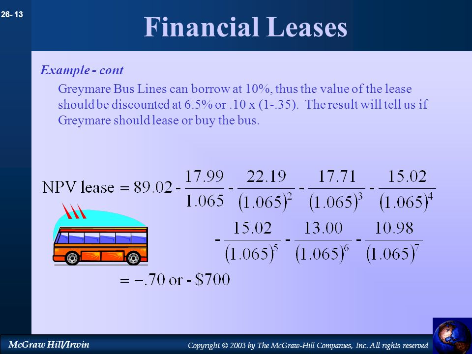 26- 13 McGraw Hill/Irwin Copyright © 2003 by The McGraw-Hill Companies, Inc. All rights reserved Financial Leases Example - cont Greymare Bus Lines ca