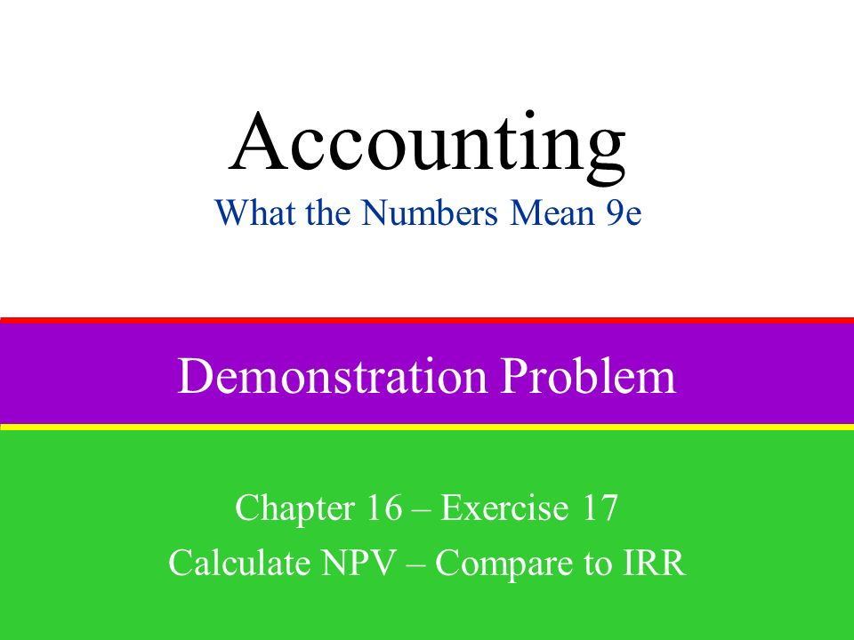Demonstration Problem Chapter 16 – Exercise 17 Calculate NPV – Compare to IRR Accounting What the Numbers Mean 9e