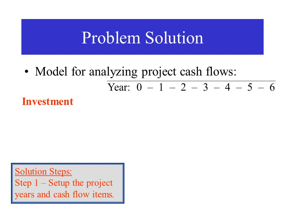 Model for analyzing project cash flows: Problem Solution Investment Solution Steps: Step 1 – Setup the years and cash flow items. Solution Steps: Step