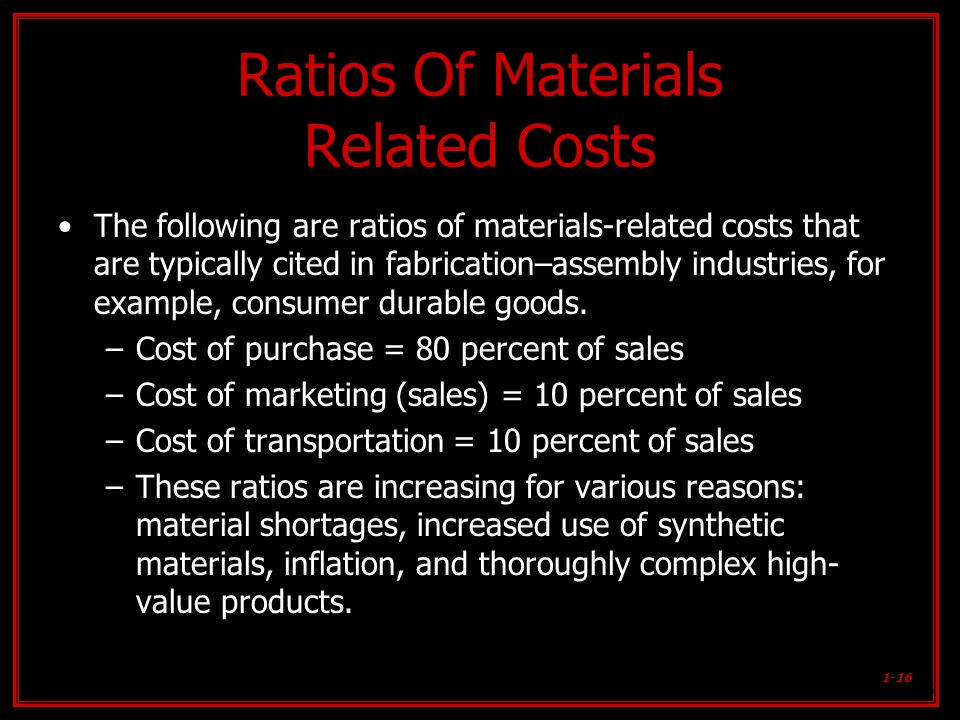 1-16 Ratios Of Materials Related Costs The following are ratios of materials-related costs that are typically cited in fabrication–assembly industries
