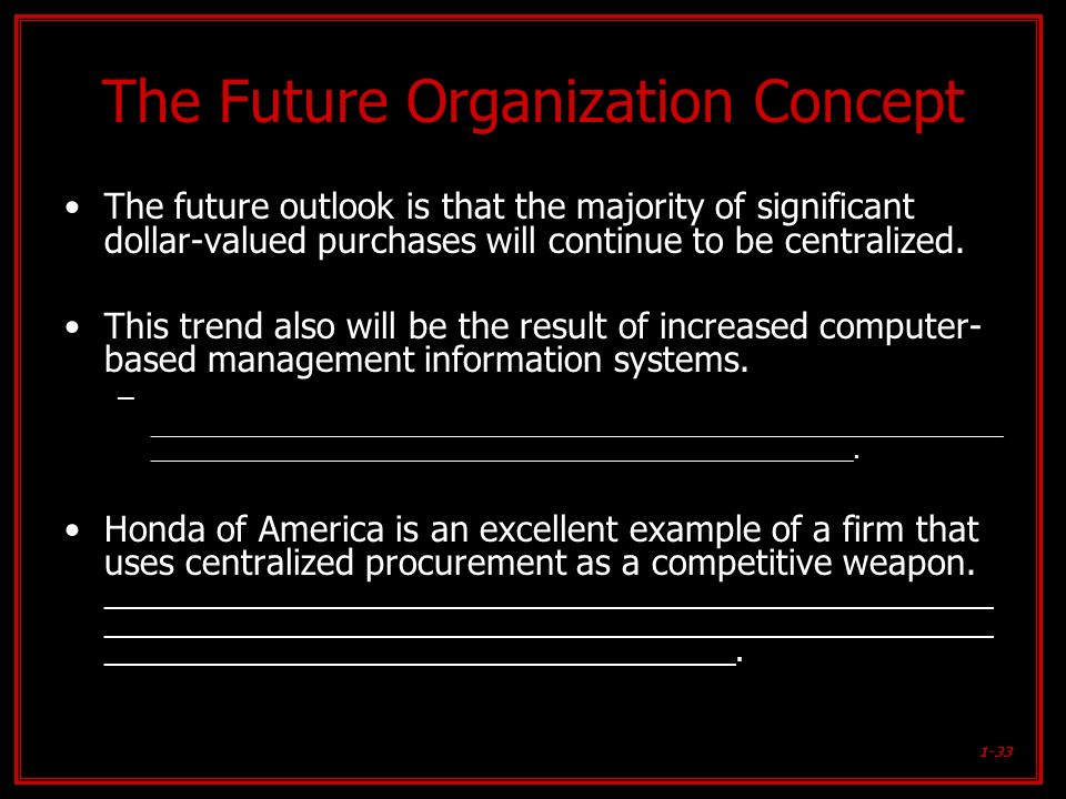 1-33 The Future Organization Concept The future outlook is that the majority of significant dollar-valued purchases will continue to be centralized. T