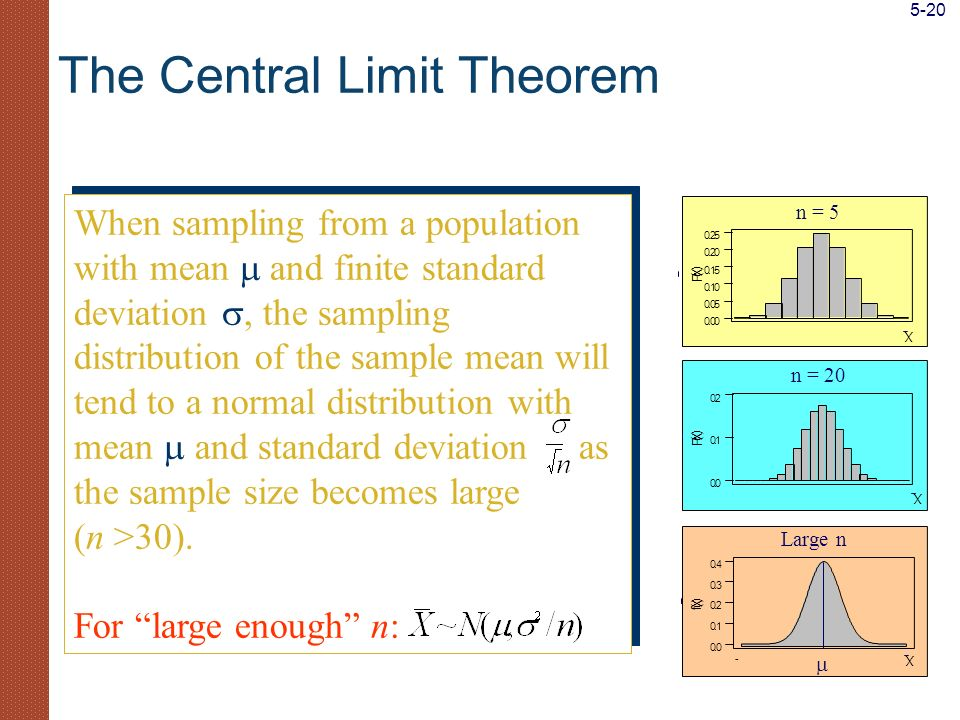 When sampling from a population with mean and finite standard deviation, the sampling distribution of the sample mean will tend to a normal distributi
