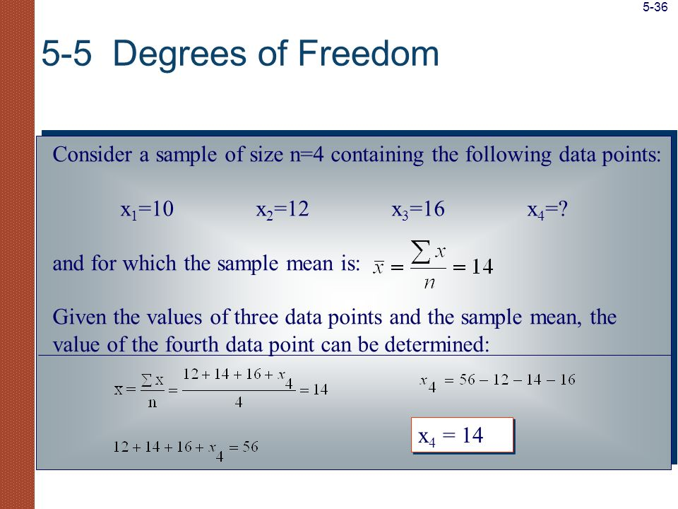 Consider a sample of size n=4 containing the following data points: x 1 =10x 2 =12x 3 =16x 4 =? and for which the sample mean is: Given the values of