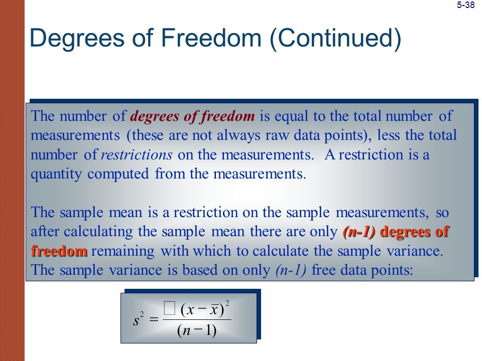 The number of degrees of freedom is equal to the total number of measurements (these are not always raw data points), less the total number of restric