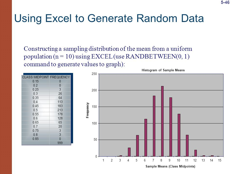 Constructing a sampling distribution of the mean from a uniform population (n = 10) using EXCEL (use RANDBETWEEN(0, 1) command to generate values to g