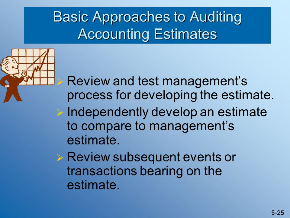 5-25 Basic Approaches to Auditing Accounting Estimates Review and test managements process for developing the estimate. Independently develop an estim