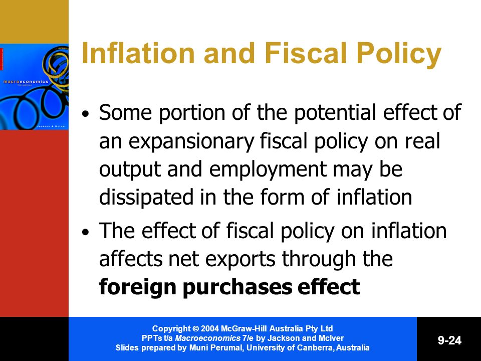 Copyright 2004 McGraw-Hill Australia Pty Ltd PPTs t/a Macroeconomics 7/e by Jackson and McIver Slides prepared by Muni Perumal, University of Canberra, Australia 9-24 Inflation and Fiscal Policy Some portion of the potential effect of an expansionary fiscal policy on real output and employment may be dissipated in the form of inflation The effect of fiscal policy on inflation affects net exports through the foreign purchases effect