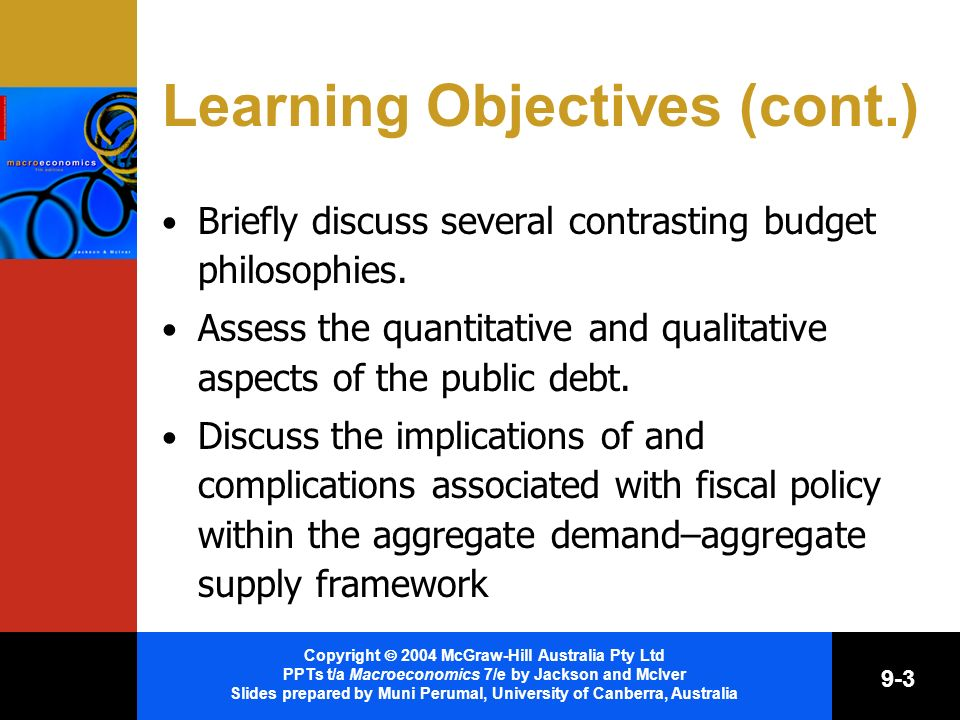 Copyright 2004 McGraw-Hill Australia Pty Ltd PPTs t/a Macroeconomics 7/e by Jackson and McIver Slides prepared by Muni Perumal, University of Canberra, Australia 9-3 Learning Objectives (cont.) Briefly discuss several contrasting budget philosophies.