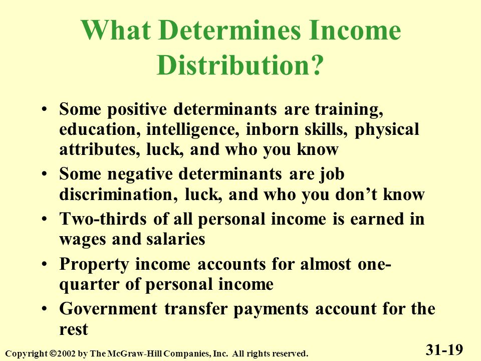What Determines Income Distribution? 31-19 Copyright 2002 by The McGraw-Hill Companies, Inc. All rights reserved. Some positive determinants are train