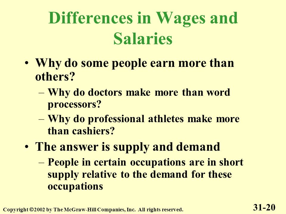 Differences in Wages and Salaries Why do some people earn more than others? –Why do doctors make more than word processors? –Why do professional athle