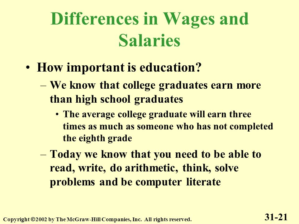 Differences in Wages and Salaries How important is education? –We know that college graduates earn more than high school graduates The average college