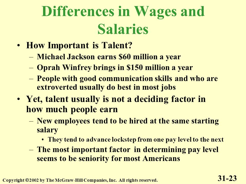 Differences in Wages and Salaries How Important is Talent? –Michael Jackson earns $60 million a year –Oprah Winfrey brings in $150 million a year –Peo