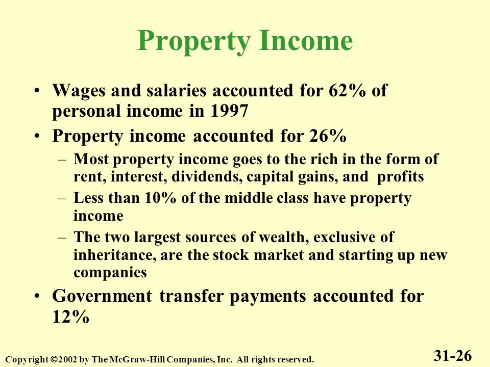 Property Income Wages and salaries accounted for 62% of personal income in 1997 Property income accounted for 26% –Most property income goes to the ri