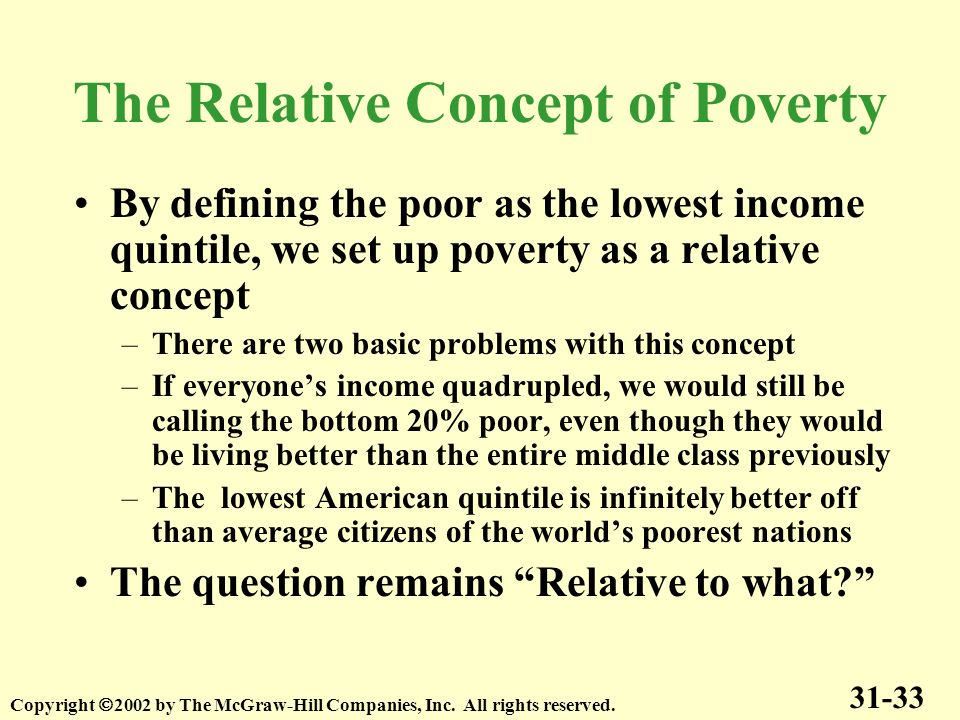 By defining the poor as the lowest income quintile, we set up poverty as a relative concept –There are two basic problems with this concept –If everyo