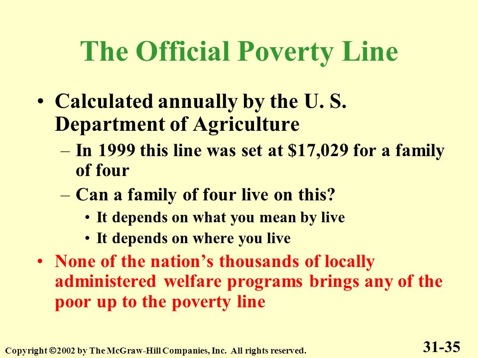 Calculated annually by the U. S. Department of Agriculture –In 1999 this line was set at $17,029 for a family of four –Can a family of four live on th