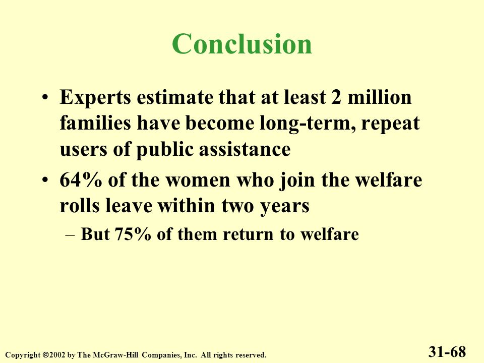 Experts estimate that at least 2 million families have become long-term, repeat users of public assistance 64% of the women who join the welfare rolls