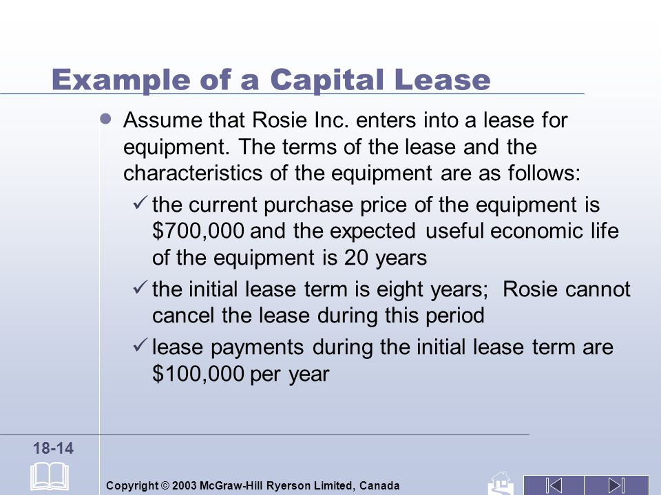 Copyright © 2003 McGraw-Hill Ryerson Limited, Canada 18-14 Example of a Capital Lease Assume that Rosie Inc.