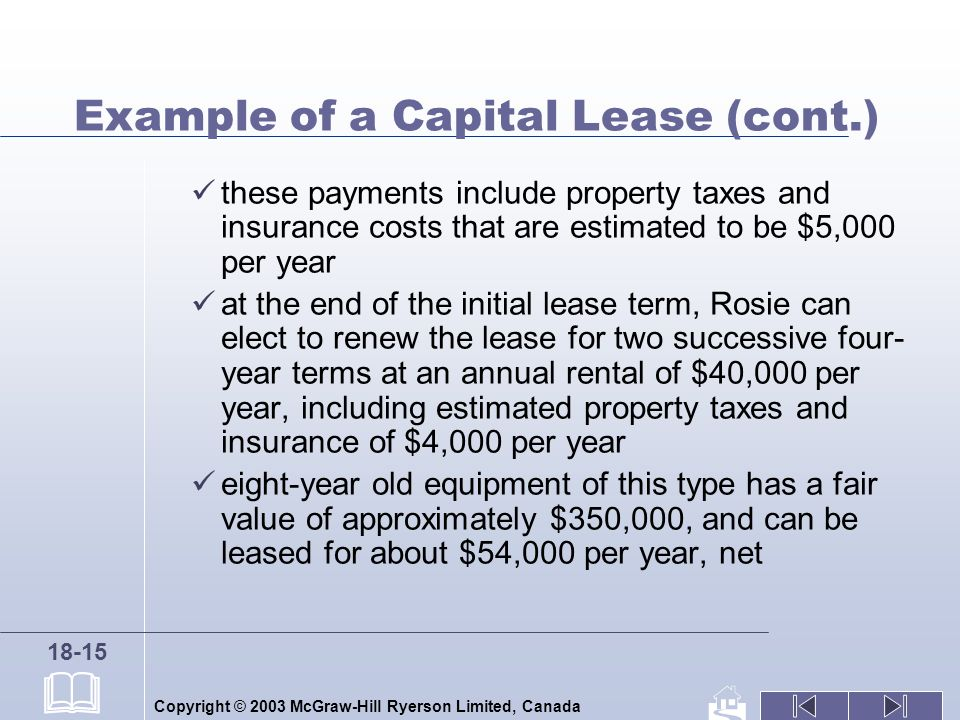 Copyright © 2003 McGraw-Hill Ryerson Limited, Canada 18-15 Example of a Capital Lease (cont.) these payments include property taxes and insurance cost
