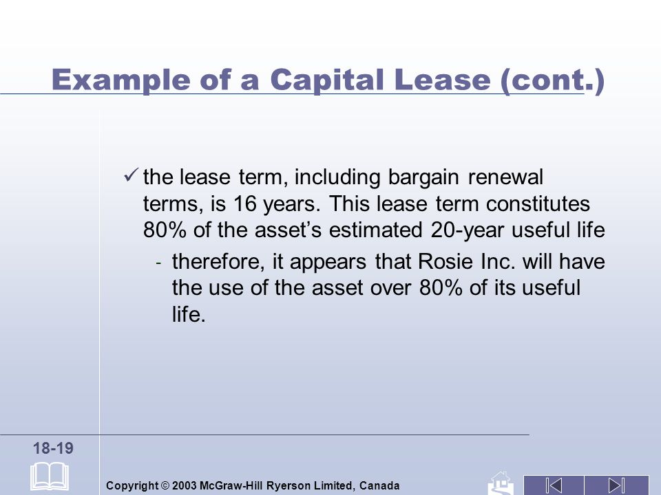 Copyright © 2003 McGraw-Hill Ryerson Limited, Canada 18-19 Example of a Capital Lease (cont.) the lease term, including bargain renewal terms, is 16 years.