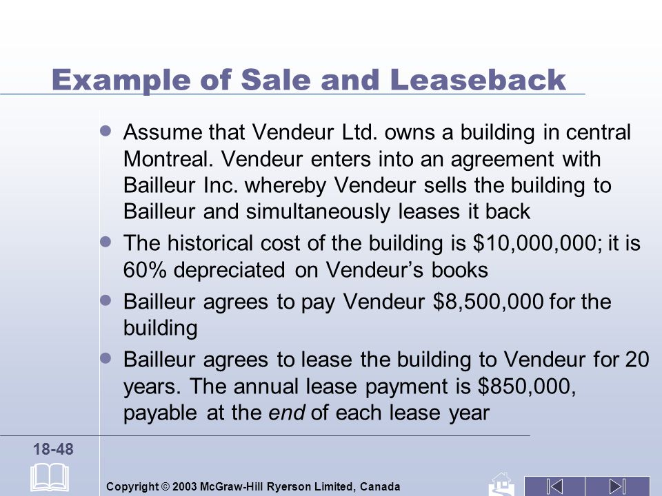 Copyright © 2003 McGraw-Hill Ryerson Limited, Canada 18-48 Example of Sale and Leaseback Assume that Vendeur Ltd. owns a building in central Montreal.
