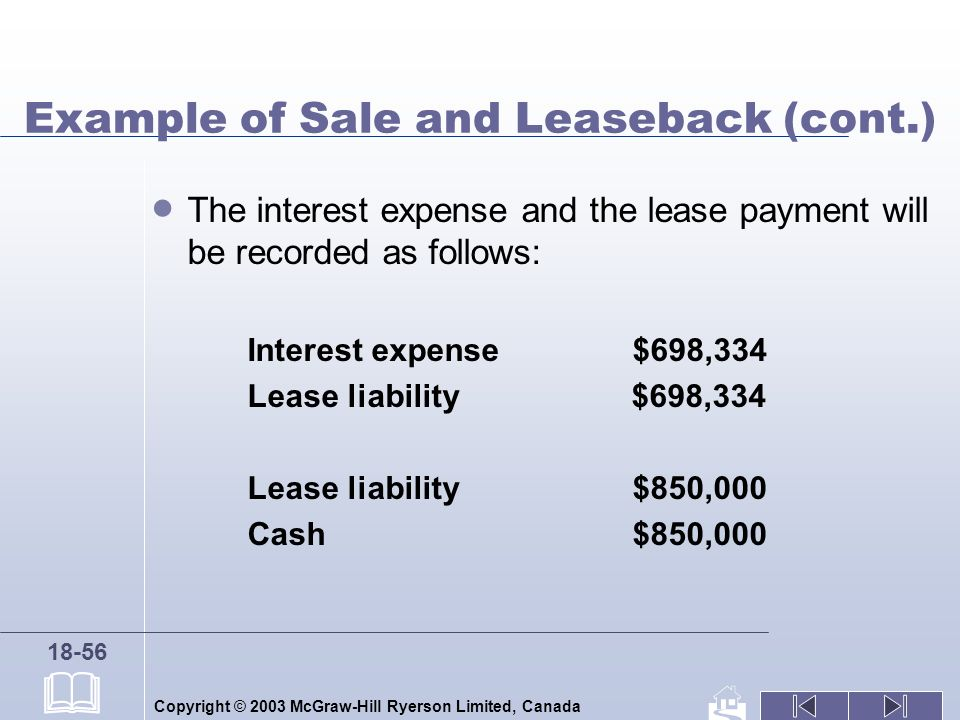 Copyright © 2003 McGraw-Hill Ryerson Limited, Canada 18-56 Example of Sale and Leaseback (cont.) The interest expense and the lease payment will be recorded as follows: Interest expense $698,334 Lease liability $698,334 Lease liability $850,000 Cash $850,000