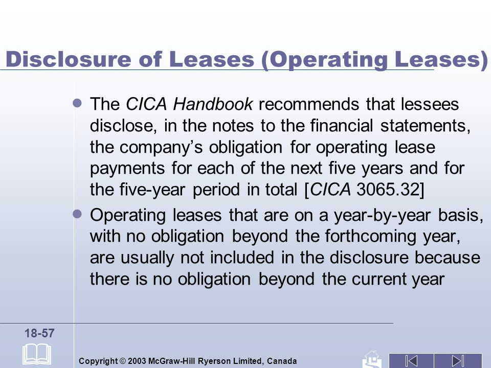Copyright © 2003 McGraw-Hill Ryerson Limited, Canada 18-57 Disclosure of Leases (Operating Leases) The CICA Handbook recommends that lessees disclose,
