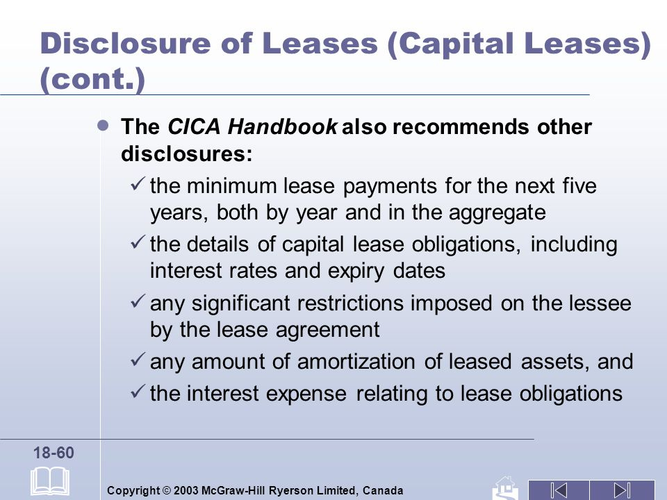 Copyright © 2003 McGraw-Hill Ryerson Limited, Canada 18-60 Disclosure of Leases (Capital Leases) (cont.) The CICA Handbook also recommends other discl