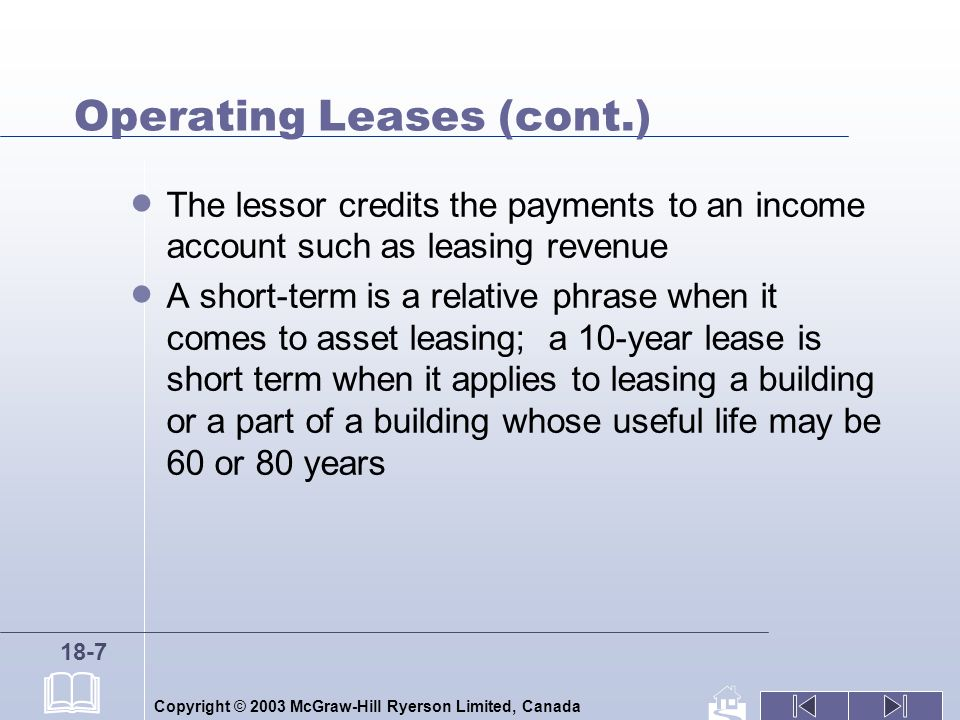 Copyright © 2003 McGraw-Hill Ryerson Limited, Canada 18-7 Operating Leases (cont.) The lessor credits the payments to an income account such as leasin